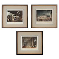 Set 3 English Architectural Aquatints Sunderland after Rowlandson & Pugin - c. 1808-1809, England