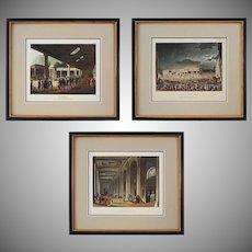 Set 3 English Architectural Aquatints Sunderland after Rowlandson & Pugin - c. 1808-1809, England