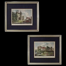 Pair Early English Castles Color Engravings after T. Hearne Framed - c. 1807, England - Red Tag Sale Item