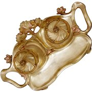 Art Nouveau Large Double Inkwell Inkstand Polished Bronze Floral