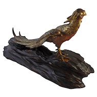 Antique Japanese Meiji Period Metalwork Signed Gilt Bronze Okimono of a Pheasant - 1868-1912, Japan