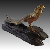 Antique Japanese Meiji Period Metalwork Signed Gilt Bronze Okimono of a Pheasant - 1868-1912, Japan