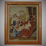 Antique Wool Work Picture in Maple Frame Christ Blessing Little Children - 19th Century, England