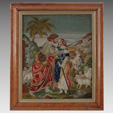 Antique Wool Work Picture in Maple Frame Pastoral Scene Shepherds - 19th Century, England