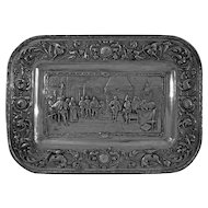 Repousse Wall Plaque Conquistadors in Hapsburg Court Silver Plated Copper - c. 19th Century, Portugal
