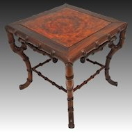 Faux Bamboo Chinoiserie Stand Burled Wood Square Small