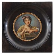 Miniature Portrait Painting Young Girl Feeding Birds Signed Brun - 19th Century, France