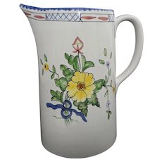 Faience Pitcher for Tiffany & Co. Painted Floral White - 20th Century, Portugal