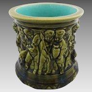 French Majolica Sarreguemines Cache Pot Planter Putti Green Turquoise - c. 19th Century, France