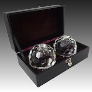 Pair Crystal Faceted Globe Shape Candlesticks Boxed - 20th Century, Japan