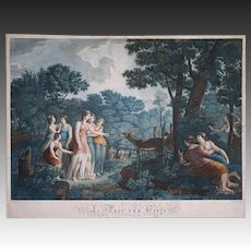 Early French Stipple Engraving Le Parc aux Cerfs after Lambert / Chouvenin Colored Large Green Blue - 18th/19th C., France