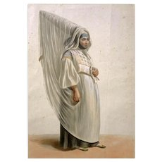 Antique Algiers Jewish Married Woman Lithograph Galerie Royale De Costumes Roubaud - 1842-1848, France