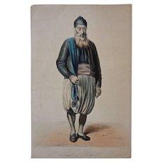 Antique Algiers Jewish Man Lithograph Galerie Royale De Costumes Roubaud - 1842-1848, France