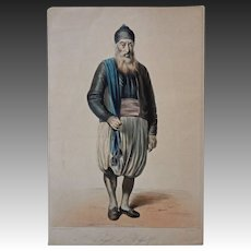 Antique Algiers Jewish Man Lithograph Galerie Royale De Costumes Roubaud - 1842-1848, France
