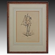Gagne Petit / Working Poor / Knife and Scissor Grinder Lithograph after Carle Vernet Framed - France