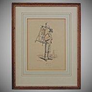 Gagne Petit / Working Poor / Knife and Scissor Grinder Lithograph after Carle Vernet Framed - France