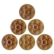 Set 6 French Longchamp Oyster Plates Majolica Caramel - 20th Century, France