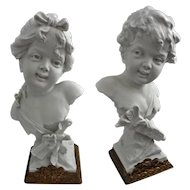 Pair White Biscuit / Parian Busts Putti Cupid and Psyche after German Sculptor Rudolf Kaesbach