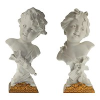 Pair Busts Boy Girl White Parian Cupid Psyche after Rudolf Kaesbach