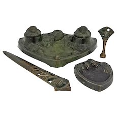 Signed Art Deco 4 Piece Desk Set Inkstand, Wax Seal, Letter Opener, Bowl, Listed Artist Sculptor - circa 1930, France