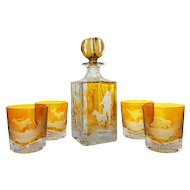 Set Amber Crystal Whisky Square Decanter and 4 Glasses Etched Game Wildlife