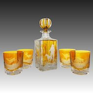 Set Whisky Square Decanter and 4 Glasses Etched Game Wildlife Amber Crystal Glass