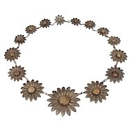 Southern Tyrol Alpine Flower Silver Filigree Necklace