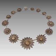 Southern Tyrol Alpine Flower Silver Filigree Necklace