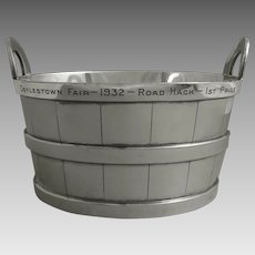 Art Deco Period Wine Champagne Ice Barrel Shaped Bucket by Reed & Barton Silver Plated Americana - 1932, USA