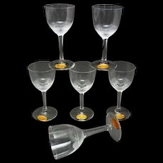 Moser Cordial Set 6 Diamond Cut Crystal Boxed Original Labels Clear - 20th Century, Czechoslovakia