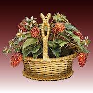 Strawberry Basket Gilt Enamel Jane Hutcheson Gorham Fleurs des Siecles - circa 1970, United States