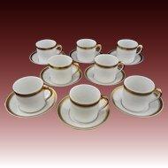 Set 8 Demitasse Expresso Cups Saucers Gilt White Vista Alegre - 20th Century, Portugal