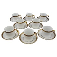 Set 8 Demitasse Expresso Cups Saucers Gilt White Vista Alegre - 20th Century, Portugal