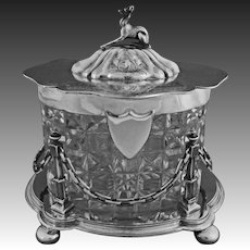 Antique English Lidded Biscuit Box Whippet Dog Finial Crystal and Silverplate - 19th Century, England
