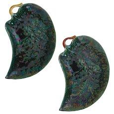 Pair Antique Minton Majolica Ceramic Leaf Shaped Plates - 1881, England