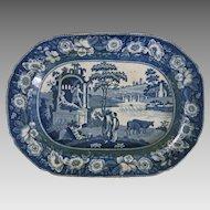 Early Minton Transferware Platter Blue and White Italian Ruins Floral Border - 1842, Stoke-on-Trent, England