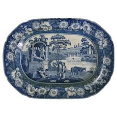 Early Minton Transferware Platter Blue and White Italian Ruins Floral Border - 1842, Stoke-on-Trent, England