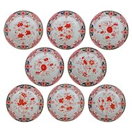 Set 8 Antique Derby Porcelain Plates Imari Style - 1877-1890, England