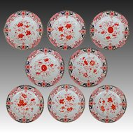 Set 8 Antique Derby Porcelain Plates Imari Style - 1877-1890, England