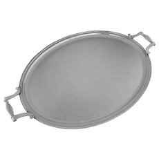 """Christofle Large 22"""" Oval Handled Tray Colbert Pattern - 20th Century, France"""