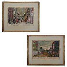 Pair 18th Century Optical Prints Engravings Perspective Philip Andreas Degmair after Matthias Siller Tab. 5 & 12 - Vienna, 1764