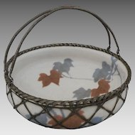 Japanese Woven Metal Basket with Pottery Bowl Insert - c. 1920's, Japan