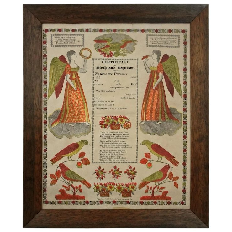 Early Framed German Folk Art Broadside Fraktur Certificate of Birth ...