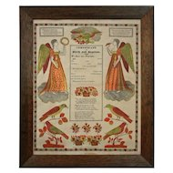 Early Framed German Folk Art Broadside Fraktur Certificate of Birth and Baptism G. S. Peters, Harrisburg, PA - c. 1829, USA
