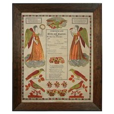 Early Framed German Folk Art Broadside Fraktur Certificate of Birth and Baptism G. S. Peters, Harrisburg, PA - c. 1829, USA