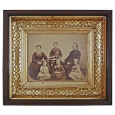 Antique Mahogany Framed Sepia Photograph Samuel and Annie Shuck Family Americana - c. 1870, USA