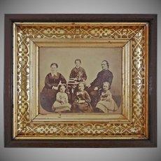 Antique Mahogany Framed Sepia Photograph Samuel and Annie Shuck Family Americana - c. 1870, USA