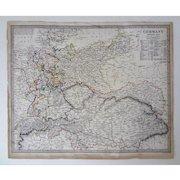 Antique Germany Engraved Map S.D.U.K. Original Including Austria and Bohemia - 1840, England