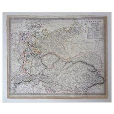 Antique Map of Germany S.D.U.K. Original Including Austria and Bohemia - 1840, England