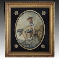 Antique Silk Needlework Embroidery Picture Country Girl in Tuscany Gilt Wood Frame Eglomise Mat - circa 1830